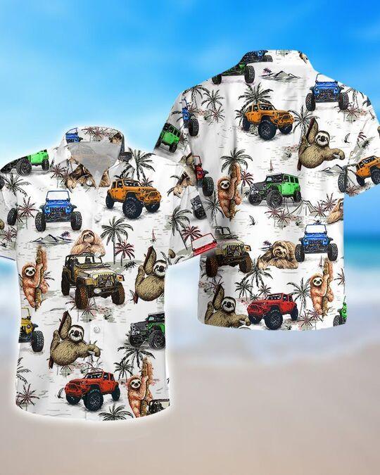 ocean sloth jeep all over printed hawaiian shirt