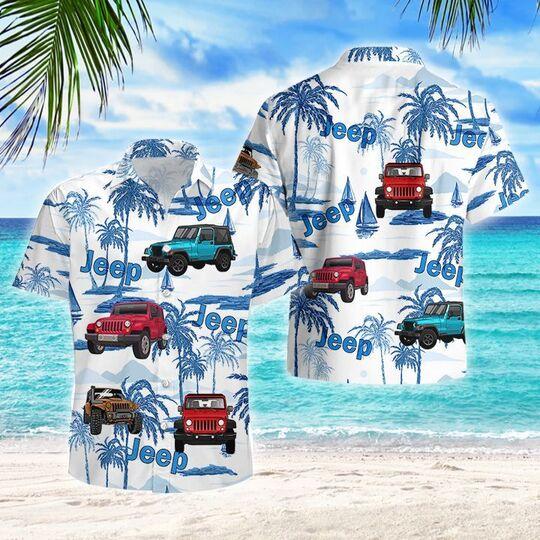 sailboat palm jeep all over printed hawaiian shirt
