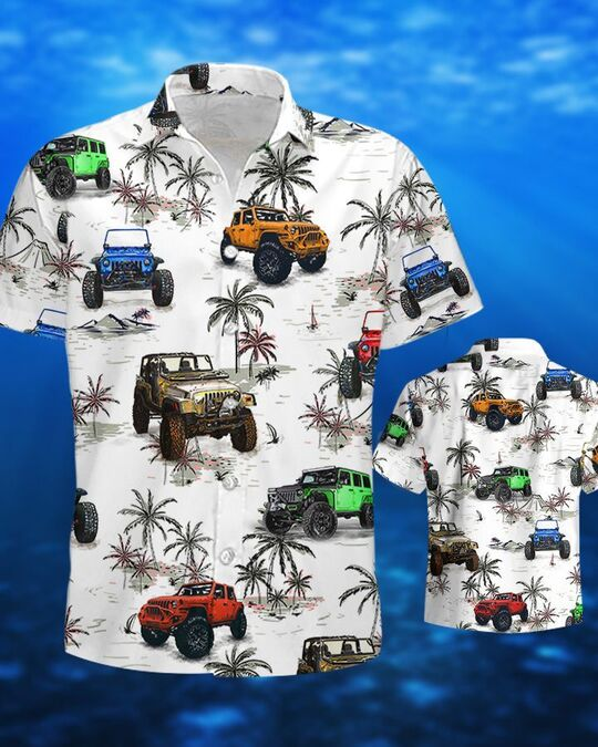 the jeep and palm all over printed hawaiian shirt