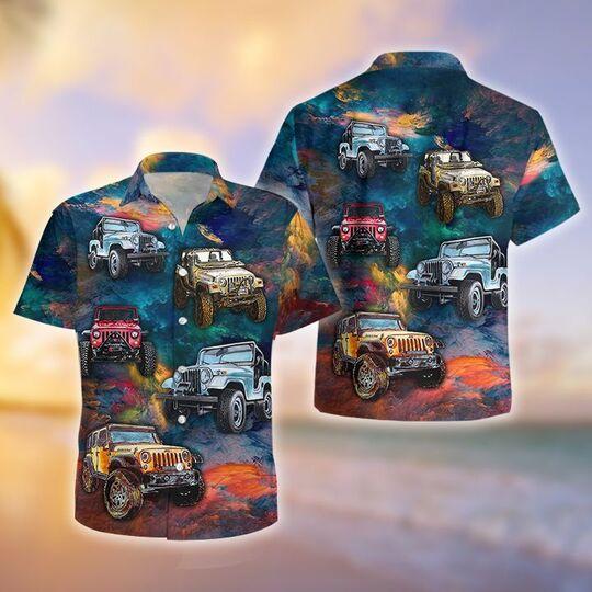 the jeep colorful all over printed hawaiian shirt