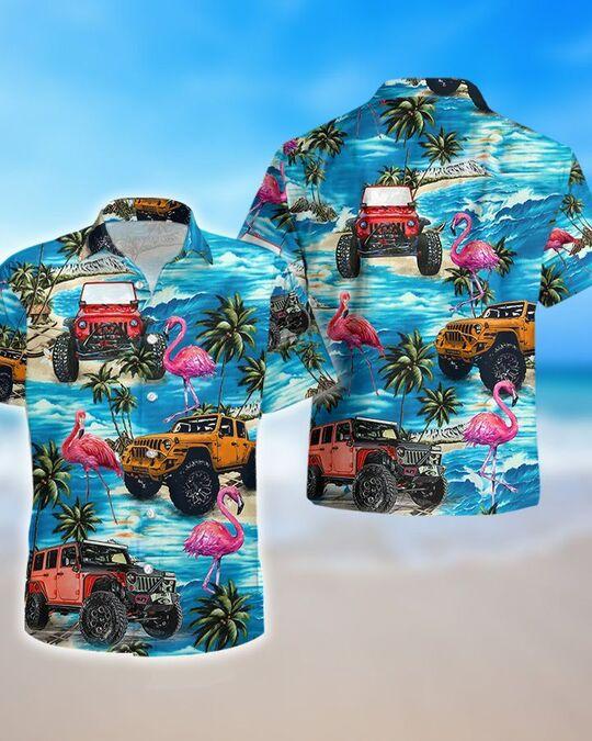 tropical flamingo jeep all over printed hawaiian shirt